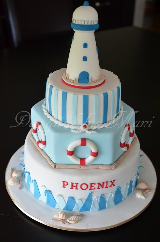 NAUTICAL THEME CHRISTENING CAKE