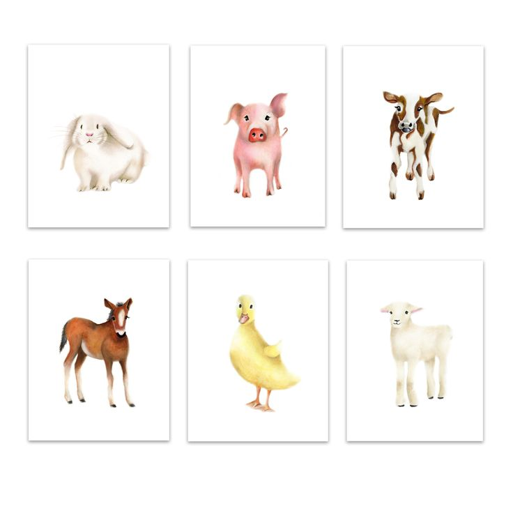 This is set of 6 animal prints are from the Farm Friends Collection. This set includes a lamb, cow, pig, duckling, bunny and horse. Layout: The prints are shown in portrait (vertical orientation). Pap