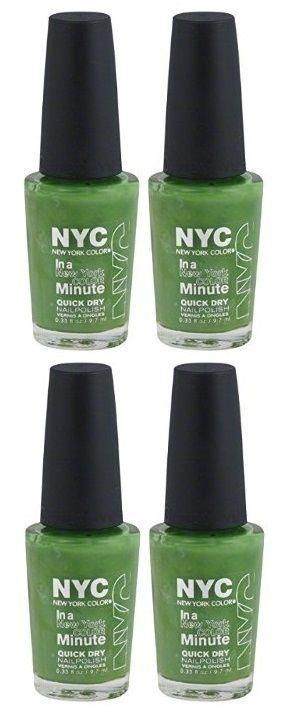 Lot Of 4 - Nyc New York In A Minute Quick Dry Nail Polish High Line Green #298