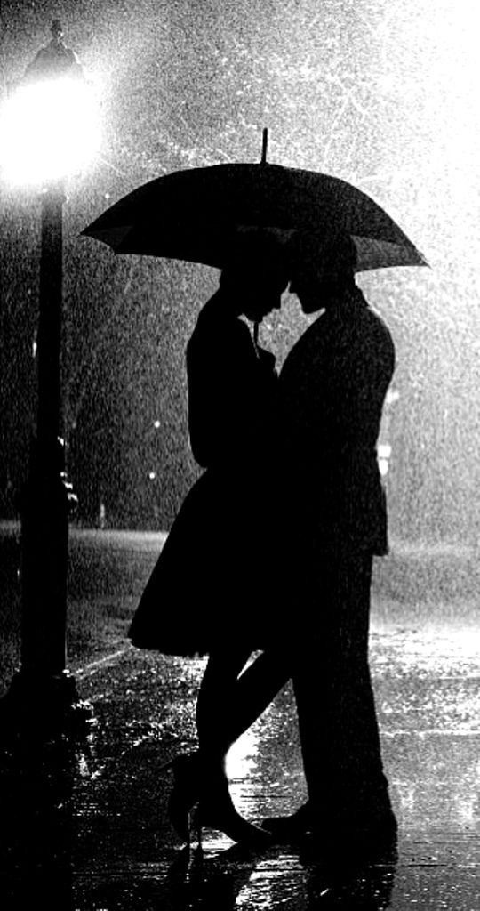 Rain black and white photography love under the umbrella