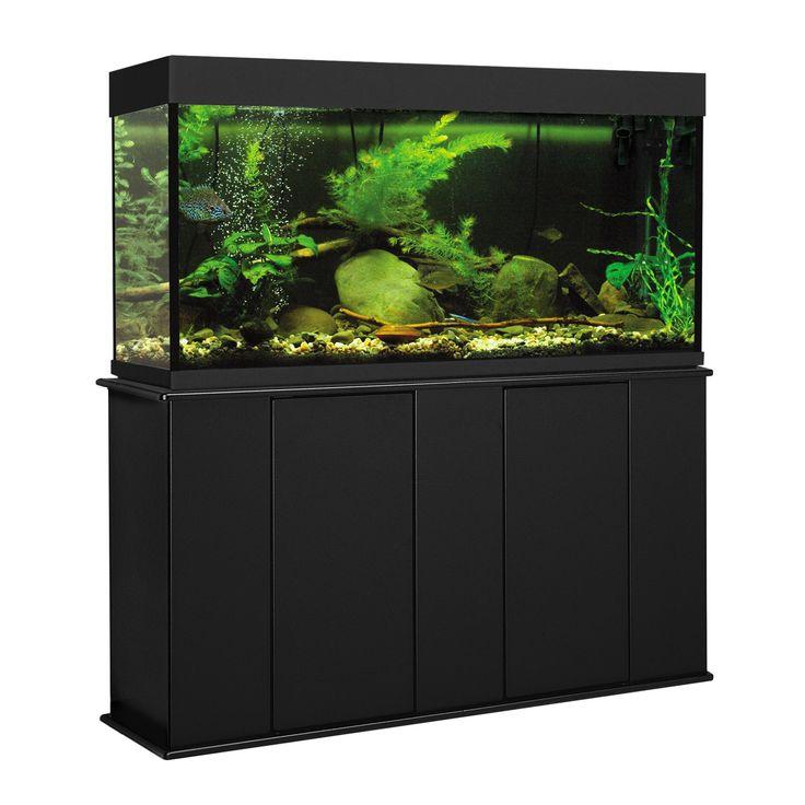 """Aquatic+Fundamentals+55+Gallon+Upright+Aquarium+Stand+-+49.37"""";+L+X+13.12"""";+W+X+28.25"""";+H.+Black.+Fits+55+gallon+tanks.+Powder+finish+for+extra+moisture+resistance. - http://www.petco.com/shop/en/petcostore/product/aquatic-fundamentals-55-gallon-upright-aquarium-stand"""