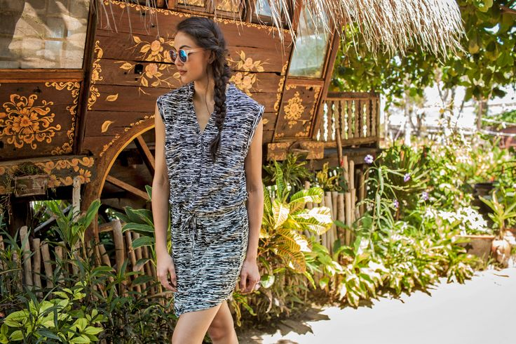 The 'Pat' Dress is simple, chic and available in our favourite spring prints Black, Black Zebra and Zick Zack Apricot. With a v-neck front and draw string waist, this dress is made even more flattering. AUD$89.90 | http://www.buddhawear.com.au/index.php/shop/pat-dress-black-zebra/