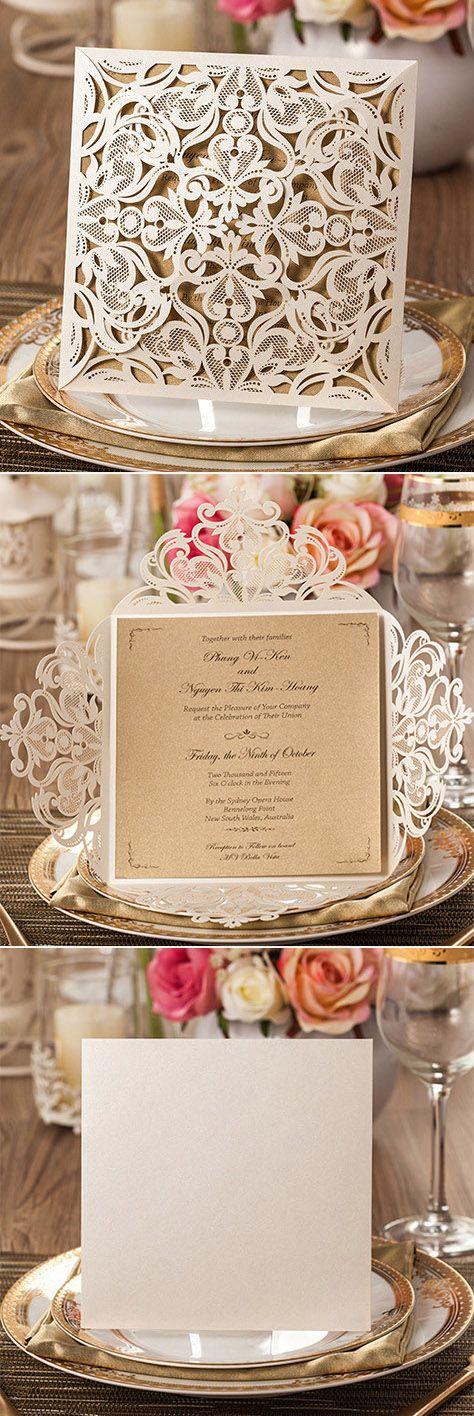 indian wedding invitation card template%0A Chic Rustic Laser Cut Wedding Invitations  elegantwinvites
