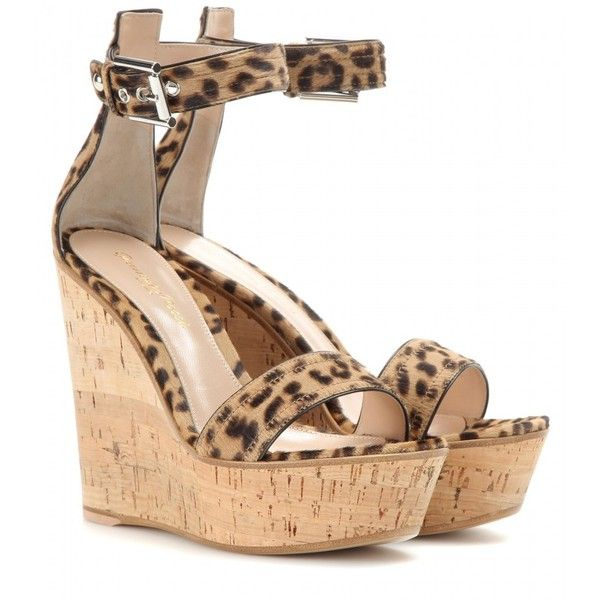 Gianvito Rossi mytheresa.com Exclusive Leopard-Print Calf Hair Wedge Sandals featuring polyvore, fashion, shoes, sandals, heels, gianvito rossi, wedges, beige, beige shoes, leopard heels shoes, leopard print shoes, wedge sandals and beige sandals