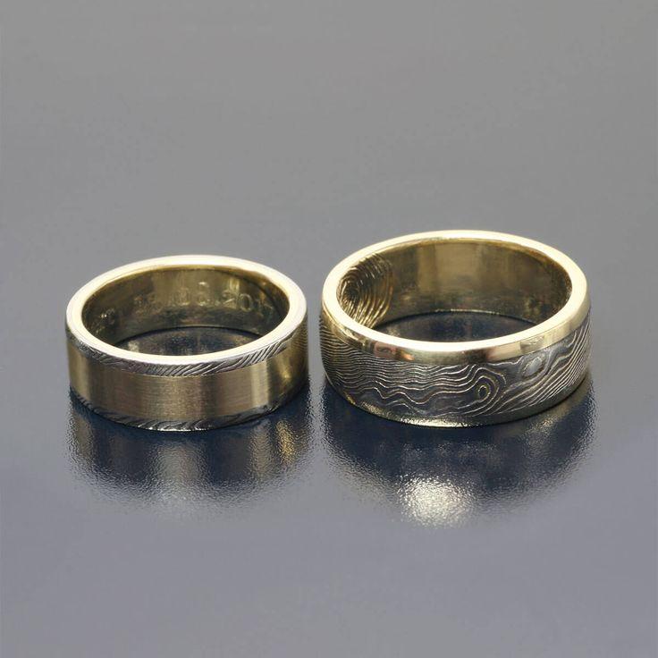 Damascus and gold rings Stal damasceńska i żółte złoto Inne Obrączki Andrzej Bielak www.inneobraczki.pl