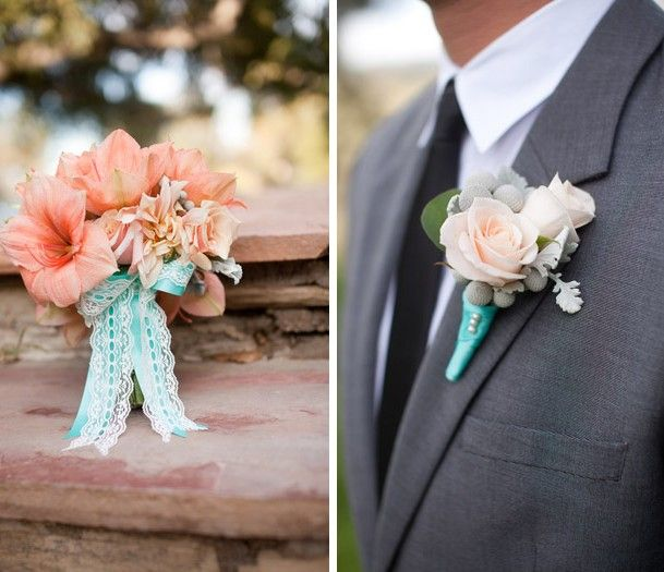 Coral Bouquet Teal Ribbon Boutonniere