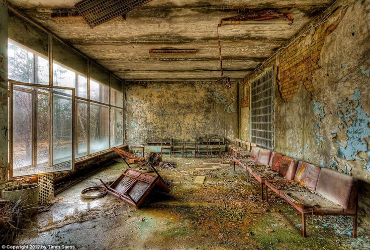 Chernobyl's Abandoned Hospital: Once an inviting entry into the hospital, its lobby is now home to rust and decaying walls