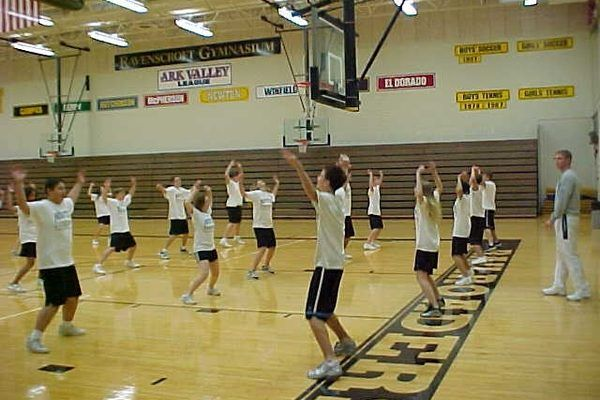 Students athletes and gym class