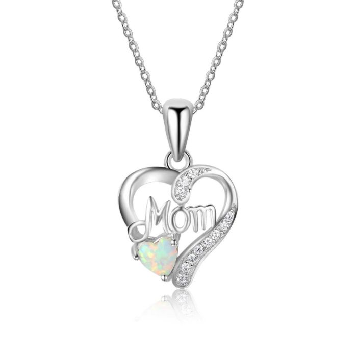 Post Included Aus Wide and to most international countries! >>> Mom's Heart White Opal Necklace - 925 Sterling Silver