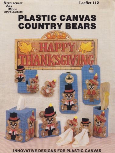 Country-Bears-Needlecraft-Ala-Mode-Thanksgiving-Plastic-Canvas-Pattern-112-OOP