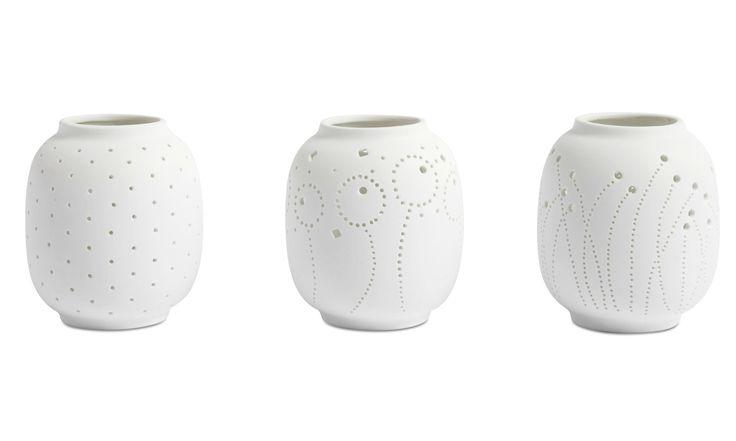 Candle holders - Polka Dots tealight holder - White - Ceramic