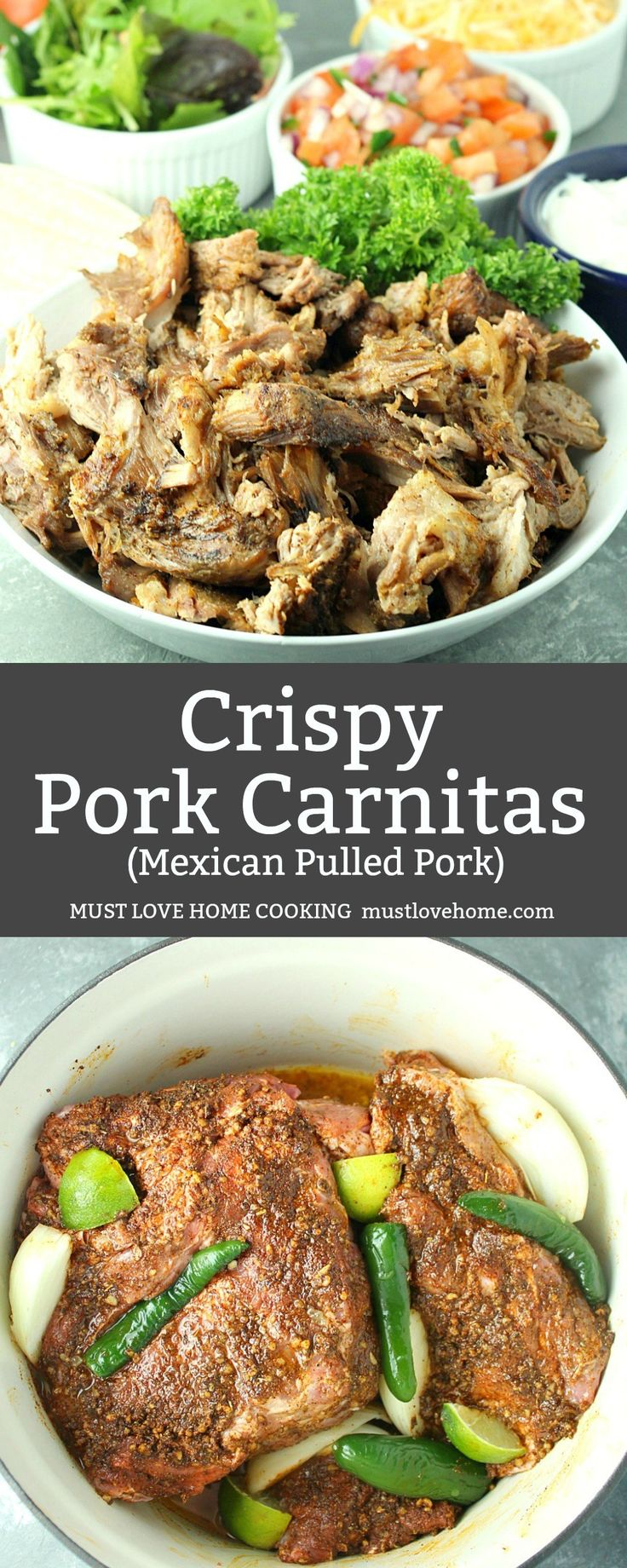 Crispy Pork Carnitas are Dutch oven baked low and slow until fall-apart delicious. So delicious when finished under the broiler to caramelize and crisp. #dinner #mexicanrecipes #recipes #cook #pork #onthetable