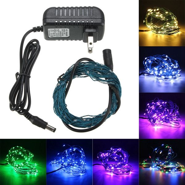 10m 100LED 33Ft LED Light String Fairy Lamp for Xmas + US Power Adapter DC 12V