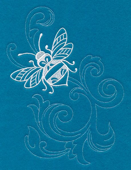 Shabby Chic Bee Spray (Whitework) design (M11745) from www.Emblibrary.com