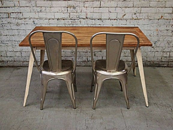 Industrial Dining Table, Aluminium Chairs