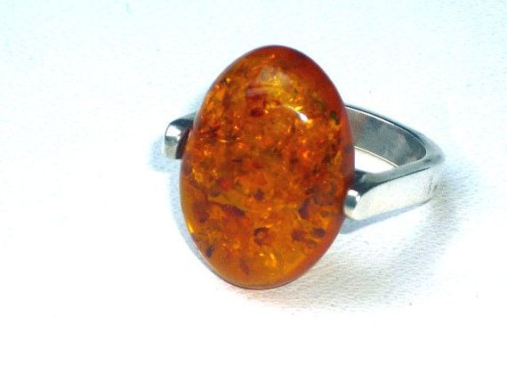 Baltic amber siver ring by Moonstoneamber on Etsy, $59.00