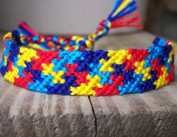 Autism Awareness Puzzle Friendship Bracelet by thethreadjunky