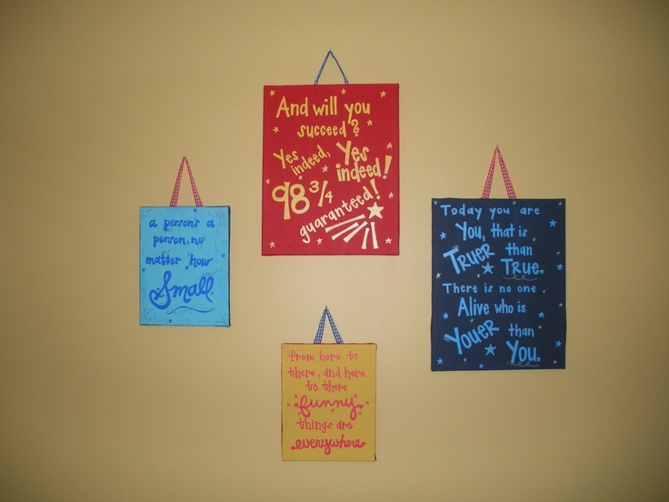 canvases with Dr. Seuss quotes in the nursery.