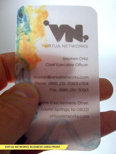 showcase of beautiful transparent plastic business cards