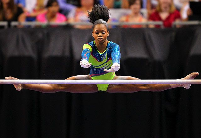 "Gabby Douglas     Age: 16  Hometown: Virginia Beach, VA  Fun Fact: The Virginia native currently lives in Iowa, where she trains with Shawn Johnson's coach, Liang Chow, and ""hasn't been home since 2010!"" her mom tells Us."