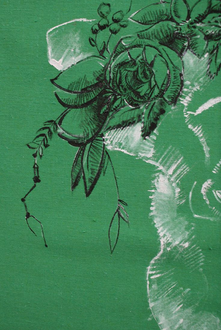 Hand painted blouse designed and made by Kropka, Monika Romańczyk. Great alternative appareal.   #green #flowers #sketch