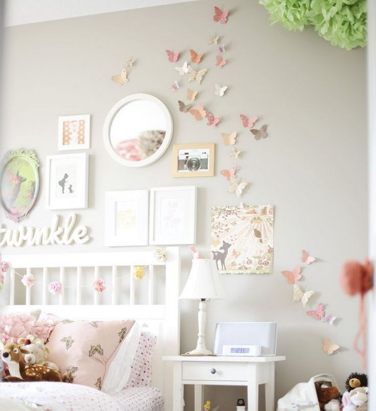 Youth room for girls wall deco paper butterflies pastel colors  – Kinderzimmer