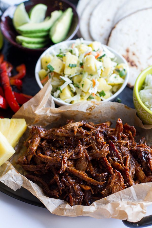 Hawaiian Hula Pork Fajitas with Pineapple Slaw + Coconut Rice.-6