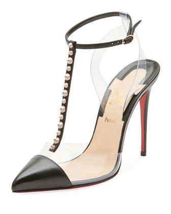 a721088fd8 Nosy Spiked T-Strap Red Sole Pump by Christian Louboutin at Neiman Marcus.
