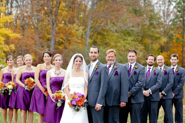 Rustic, fall wedding - orange, purple, dark gray - Carley Rehberg Photography