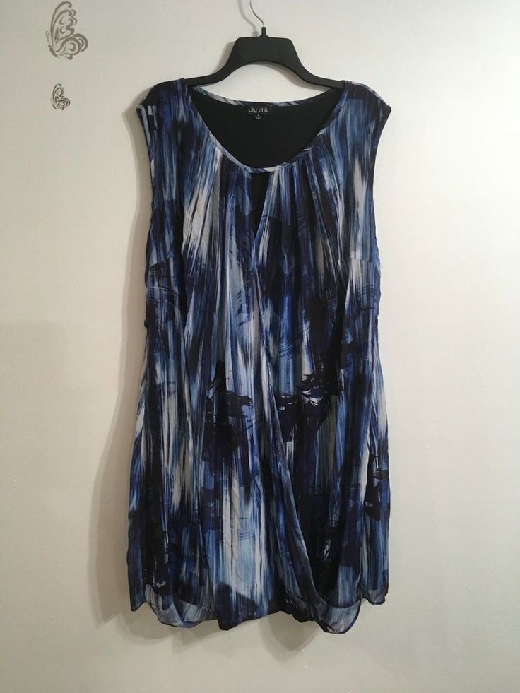 City Chic Dress Small Blue Black Abstract Print Loose Fit Keyhole Neckline NWOT #CityChic #Blouson #Casual