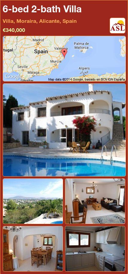 6-bed 2-bath Villa in Villa, Moraira, Alicante, Spain ►€340,000 #PropertyForSaleInSpain