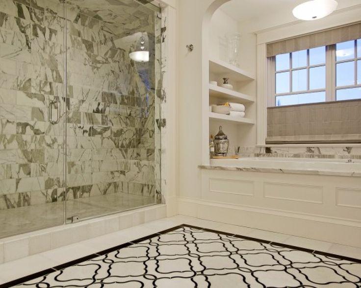 paul moon design chic marble bathroom design with white u0026 black moorish tiles tiles floor frameless glass shower marble shower tiles surround