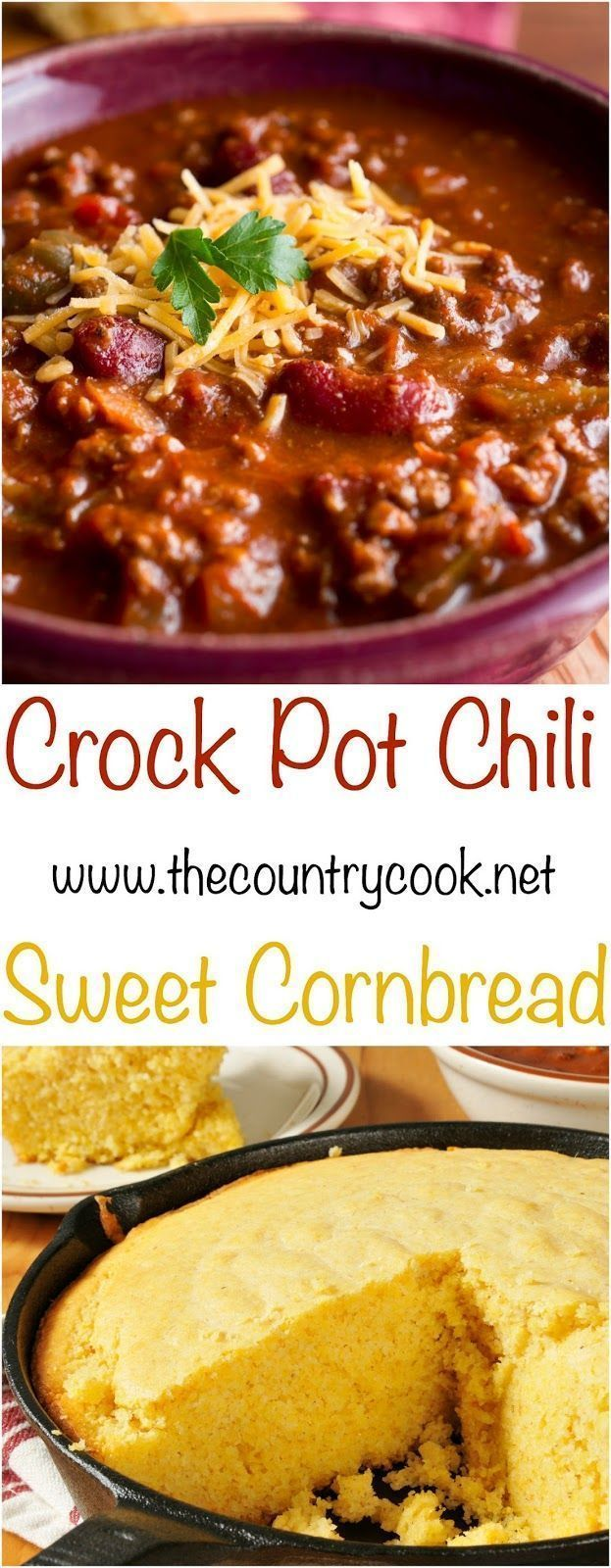 Crock Pot Chili recipe & Sweet Cornbread recipe from The Country Cook. The chili is so good because it cooks low and slow in the crockpot! #easy #recipes #slowcooker #crockpot #cornbread