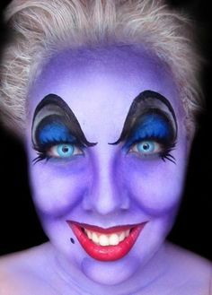 Maquillaje Teatral, Disfraz, Terror, Maquillaje De Halloween, Maquillaje Ursula, La Sirenita, Sirenitas, Poco De Maquillaje Sirena, Pequeños Trajes De