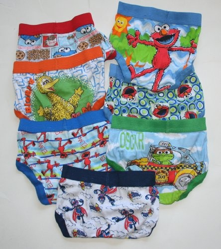 Sesame Street Toddler Boy's Brief Pack - 7 Pair - Multi-Character Size: 2T-3T