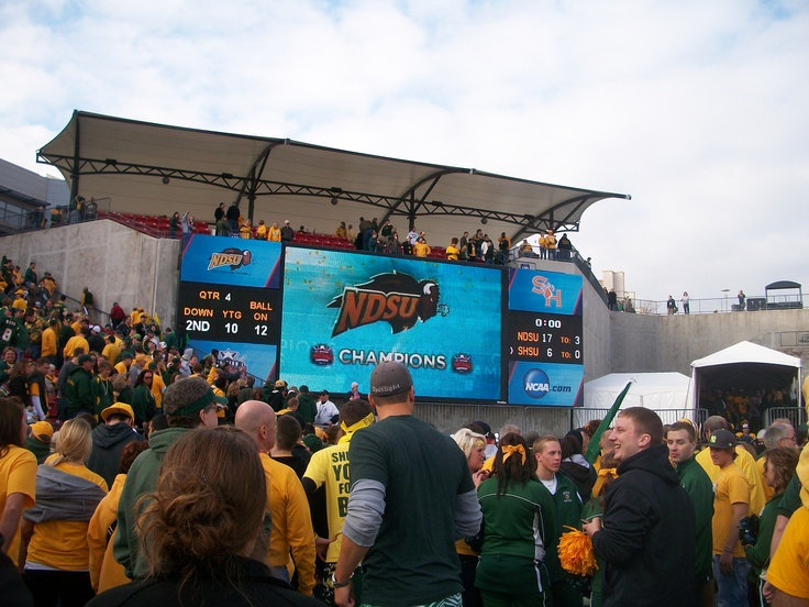 North Dakota State University players & fans celebrate on the field after becoming the NCAA FCS Champions! #Fargo