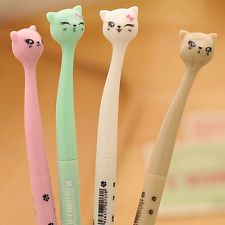 4Pcs Kawaii Fun Black Gel Ink Roller Ball Point Pen Cat Korean Color Random EW