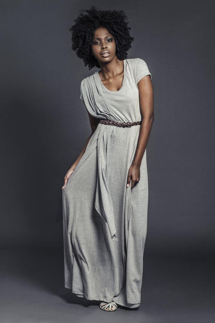 Ladies knit draped maxi length dress grey melange. For more information visit: https://www.facebook.com/pengellyclothing or https://www.pengelly.co.za