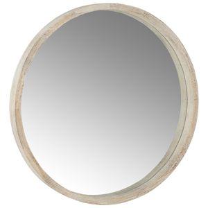 Miroir rond avec rebord en bois naturel blond Athezza