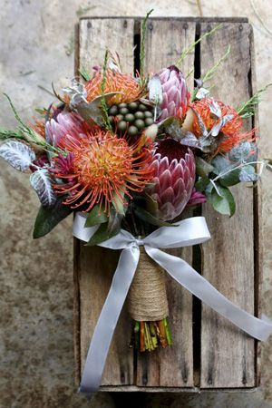 pincushion protea bridal bouquet brides of adelaide magazine