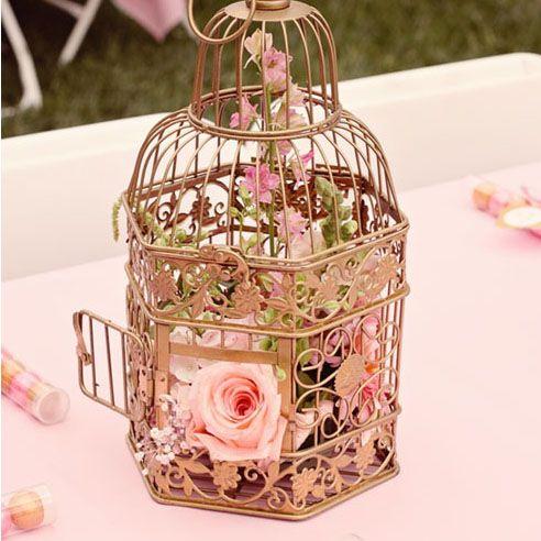 Gold bird cage centerpiece