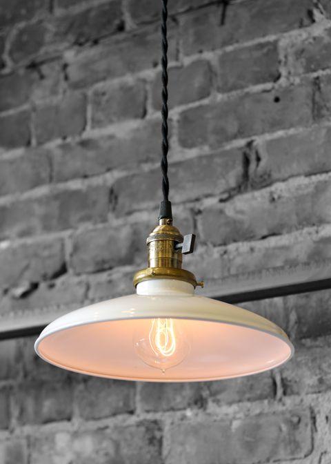Enamel Pendant LightsLights Fixtures, Industrial Lamps, Cabin Kitchens, Grey Wall, Pendant Lights, Pendants Lights, Industrial Design, Expo Bricks, Enamels