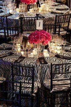 Zebra Wedding Theme Table Decor   VibrantBride.com