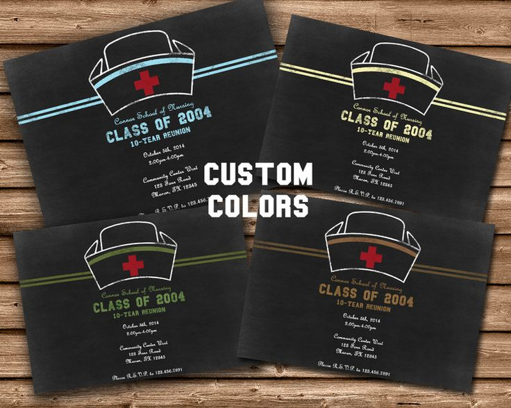 custom color nurse graduation invitations chalk style custom color options for the trim specify any - Graduation Invitations Pinterest