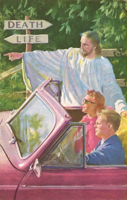 Vintage art - Jesus has been pointing the way for a long time!