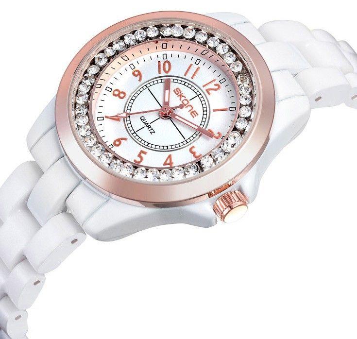 Часы женская мода роскошные часы наручные часы женщины керамическая ремешок для часов сплава Rhiestone циферблат Japen движение Quatz часы