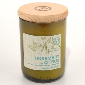 wine bottles recycled into candle containers...rosemary & citrus is amazing...