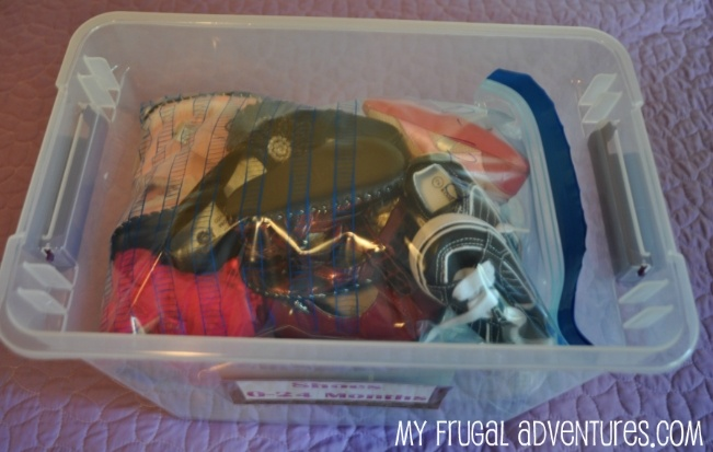 organizing kids shoes for storage