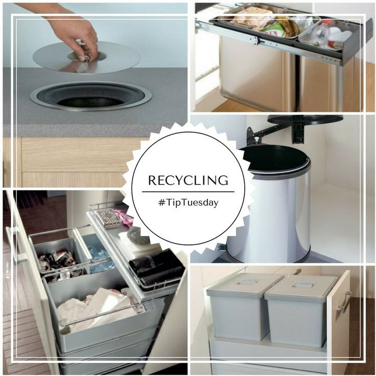 TuesdayTip   Don't forget to plan for garbage and recycling bins. Do you want built-in bins cleverly disguised behind a cabinet door, or a sleek, stainless-steel garbage container that's positioned out of the way?
