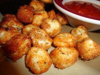 Surprisingly...string cheese chopped into bite size pieces, dipped in milk and bread crumbs, baked at 425 for 8-10 minutes- serve with marinara sauce! Its baked not fried!